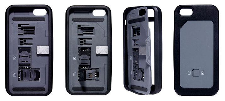 Funda iPhone 5 / 5S con 2 ranuras SIM y 1 interruptor selector