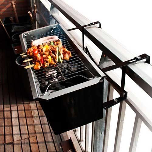 Barbacoa portátil para balcón con parrilla y plancha de asar