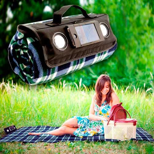Manta de picnic con altavoces para móvil y reproductor MP3