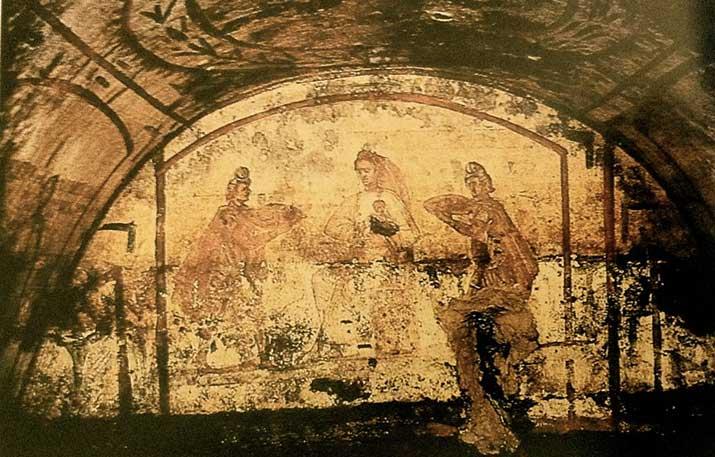 Pintura de los Reyes Magos en las catacumbas de Pedro y Marcelino