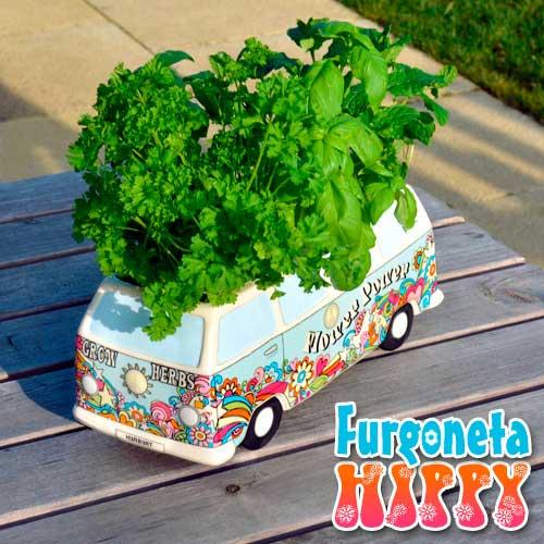 Macetero mini huerto furgoneta hippy