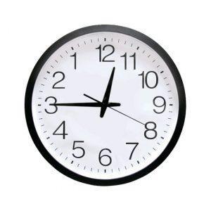 Reloj analógico de pared marcha atrás